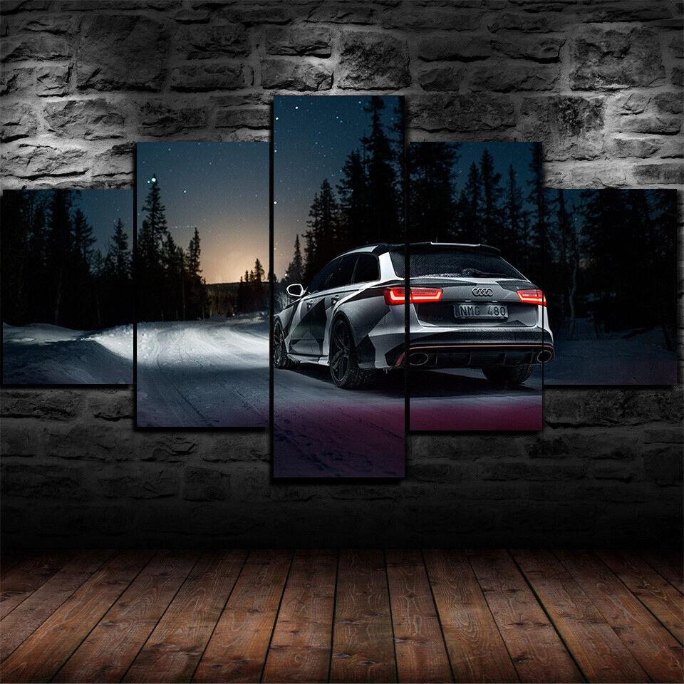 Framed Audi RS6 Camo Paintjob Car Night 5 Piece Canvas Print Wall Art Decor