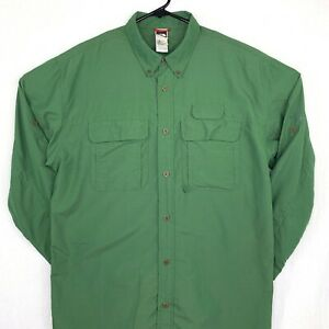 The-North-Face-Mens-Vented-Button-Down-Shirt-Large-Fishing-Long-Sleeve-Green