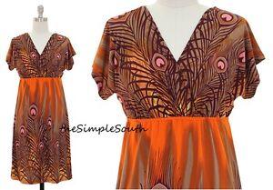 cc2c50b510 NWT JON   ANNA Orange Brown Peacock Feather Print Jersey Stretch ...