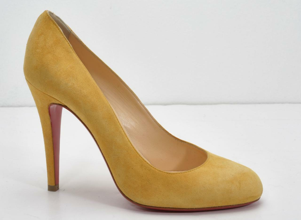 CHRISTIAN LOUBOUTIN Womens Yellow Suede Round-Toe High Heel Pumps 8.5-38.5