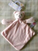 Tesco F&f Baby Pink Teddy Bear Comforter Blanket/dou Dou/soft Toy Discontinued