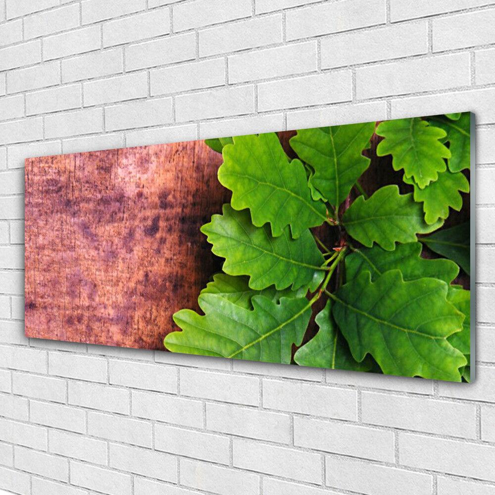 Tableau murale Impression sous verre 125x50 Floral Feuilles Chêne