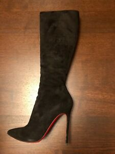 huge selection of 097d2 49d1b Details about Christian Louboutin Pigalle Botta 120 Black Suede Knee High  Heel Boots 38.5/8.5