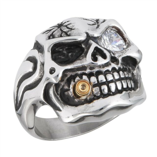 Gothic Stainless Steel Biker SKULL Ring Jewelry w Cubic Zirconia Size 7-14