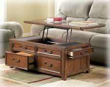 Coffee Table W Lift Top Trunk Flip Up Storage Drawers Wood Tail Tables Desk