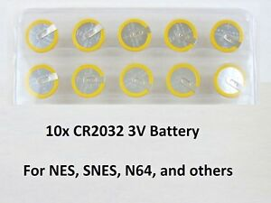 10-Replacement-Battery-Super-Nintendo-NES-SNES-CR2032-Tabbed-Tab-Batteries