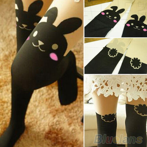 Womens Chic Popular Rabbit Print Over Knee BUNNY TAIL TATTOO TIGHTS PANTYHOSE