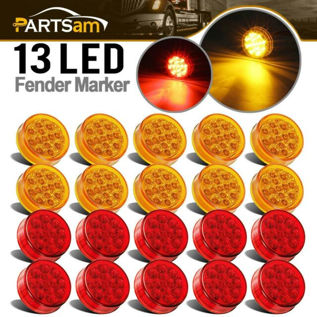 20x Red  Amber 2 5 U0026quot  Round 13 Led Cab Panel Air Breather