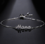 Women/'s Fashion Jewelry Designer Or Rose Argent Mama Maman Mère Bracelet 77-6