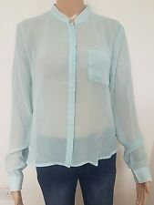 Ladies Dip Hem Light Blue Sheer Blouse Size 12 White Spots Womans Stand Collar