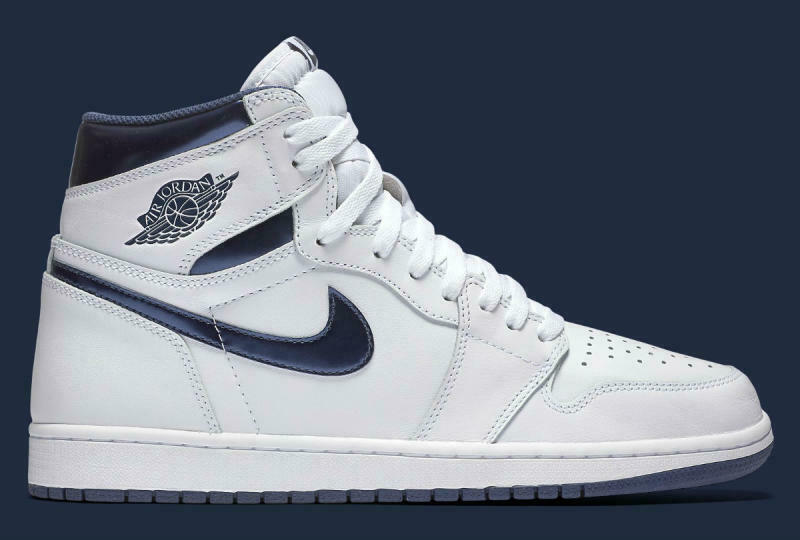 Nike Air Jordan 1 Retro High OG White Metallic Navy size 16. 555088-106. red