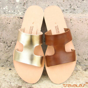 12dbce324493f Details about Leather Cut Out Flat Mule Sandal Handmade in Greece by  Tsavalas