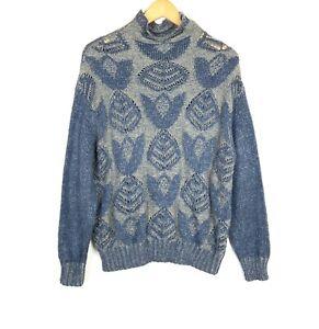 Folk-by-Hansel-from-Basel-Womens-Medium-Blue-Gray-Mock-Neck-Sweater-Long-Sleeve