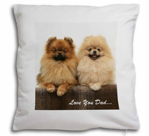 DAD-86-CPW Pomeranian Dogs /'Love You Dad/' Soft Velvet Feel Cushion Cover With I