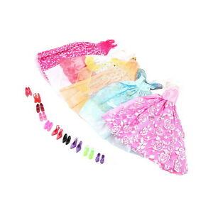 5Pcs Handmade Princess Party Gown Dresses Clothes 10 Shoes For Barbie Doll JK