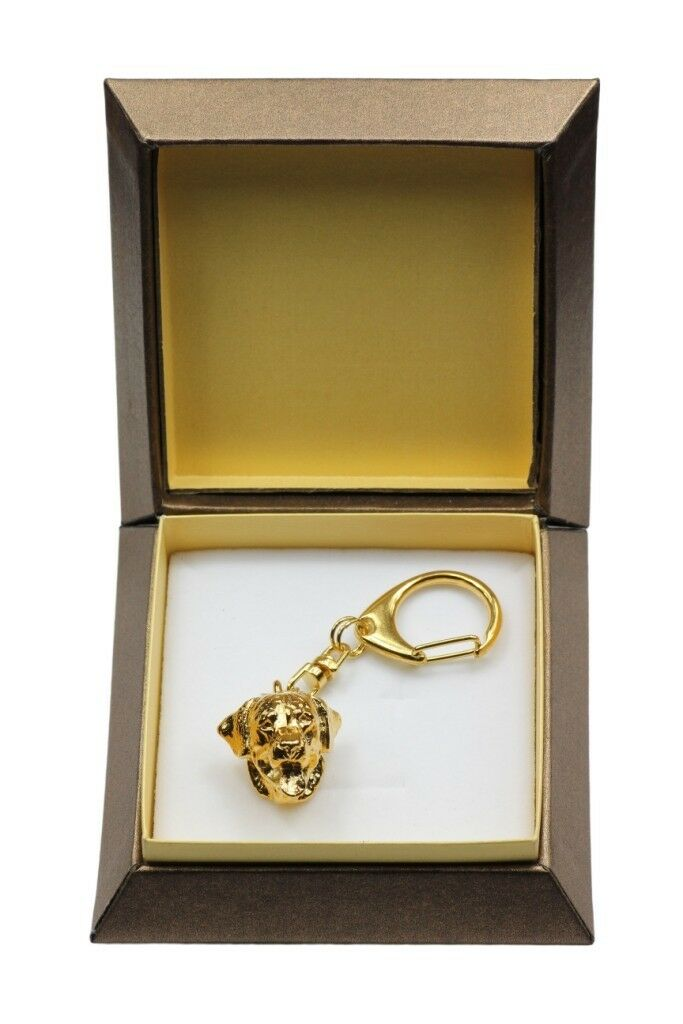 redtweiler type 2 - gold covered keyring with dog, box, high quality, Art Dog