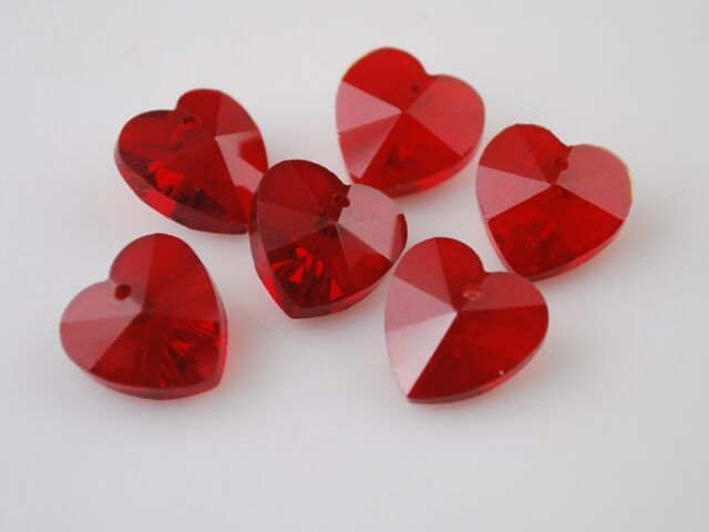10pcs 14x8mm Heart Faceted Crystal Glass Pendants Finding Loose Spacer Beads Red