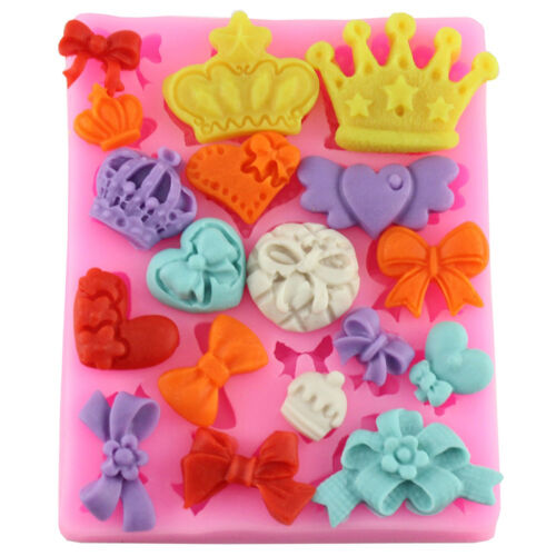 Crown Bowknot 3D Silicone Cake Mold Mould Fondant Chocolate Decor Baking Kitchen