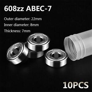 10Pcs-ABEC-7-608ZZ-Skate-Scooter-Skateboard-Wheels-Spare-Bearings-Ball-Roller