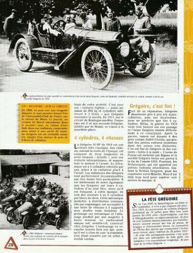 GRÉGOIRE 16 HP FICHE 1910 RENSEIGNEMENT TECHNIQUE COLLECTION VOITURE