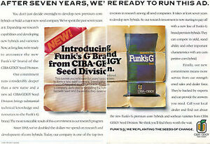 1989 2 Page Print Ad of Ciba Geigy Funk/'s G Hybrid Corn Seed Merger