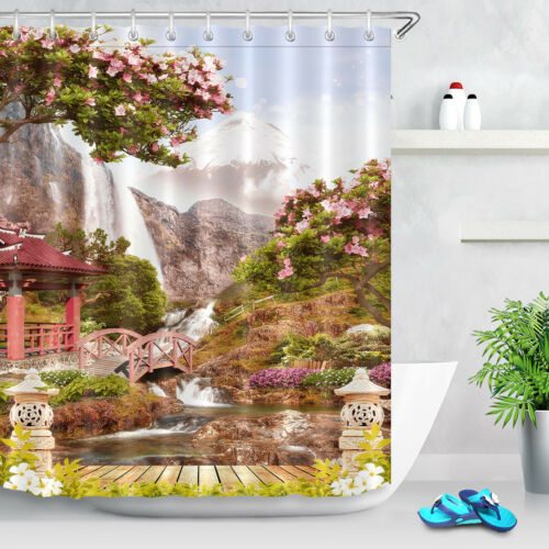 Japan Waterfall Garden Shower Curtain Set Bath Mat Waterproof Fabric 12Hooks 72/""