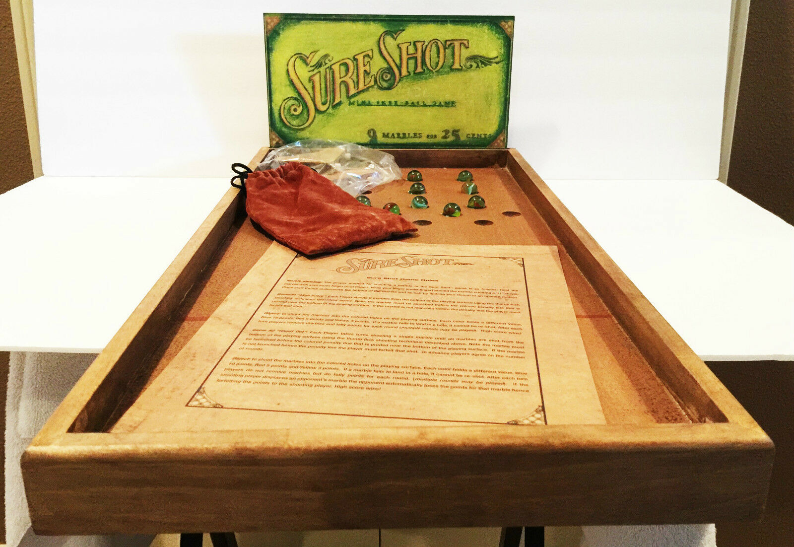 RARE BRAND NEW REPRODUCTION SURE SHOT MINI SKEE-BALL MARBLE GAME MINT