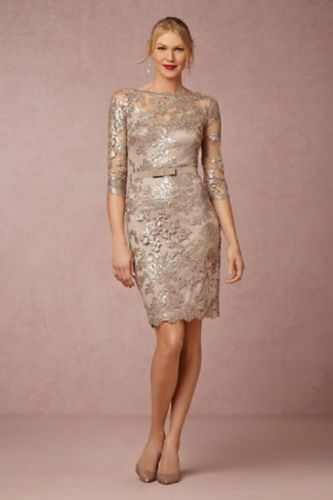 NWT Tadashi Shoji Paillette Embroidered Belted Sequined Dress Sand Size Size Size 6 d8edd3