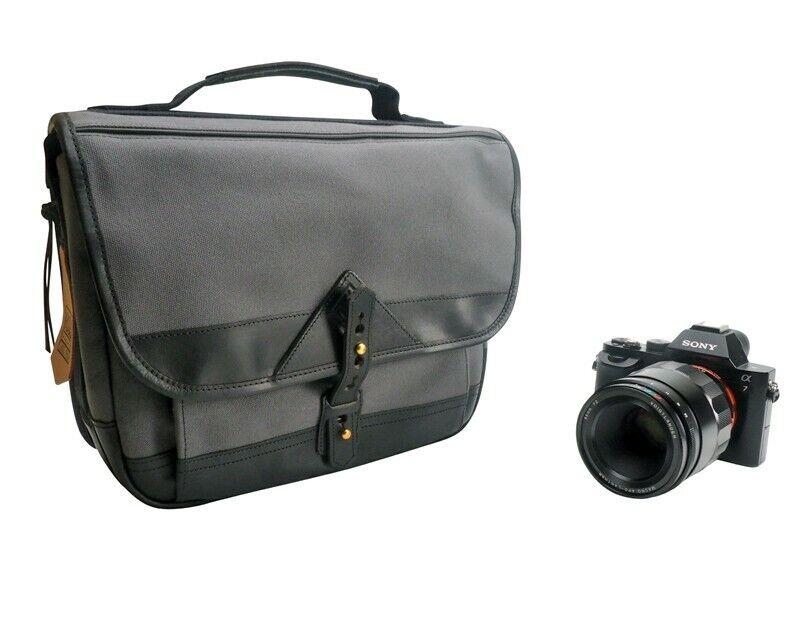 Fogg B-Sharp Satchel Camera Bag Dark Grey Fabric with Black Leather