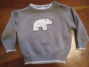 71c733746 Image is loading Gymboree-Boy-Christmas-Gray-Polar-Bear-Pullover-Cotton-
