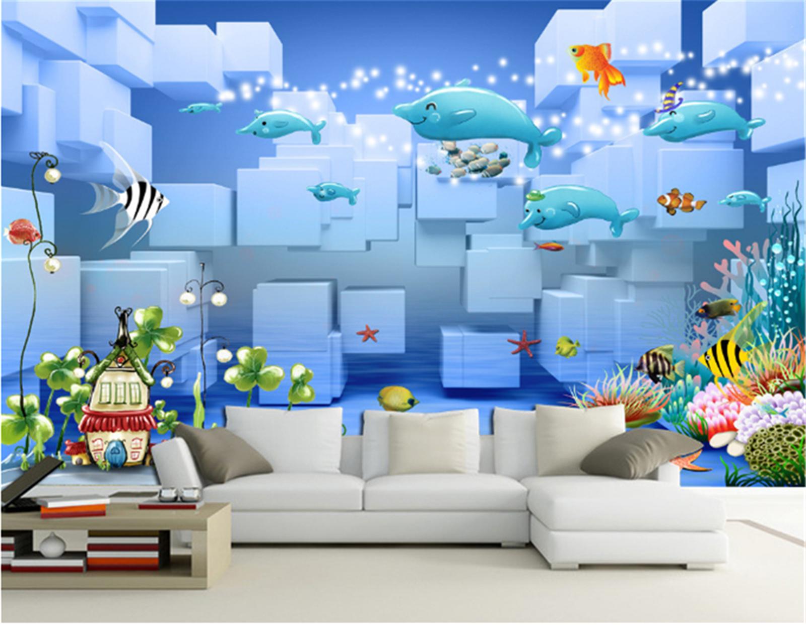 3D Cartoon Delphin Ozean 68 Tapete Tapeten Mauer Foto Familie Tapete Wandgemälde
