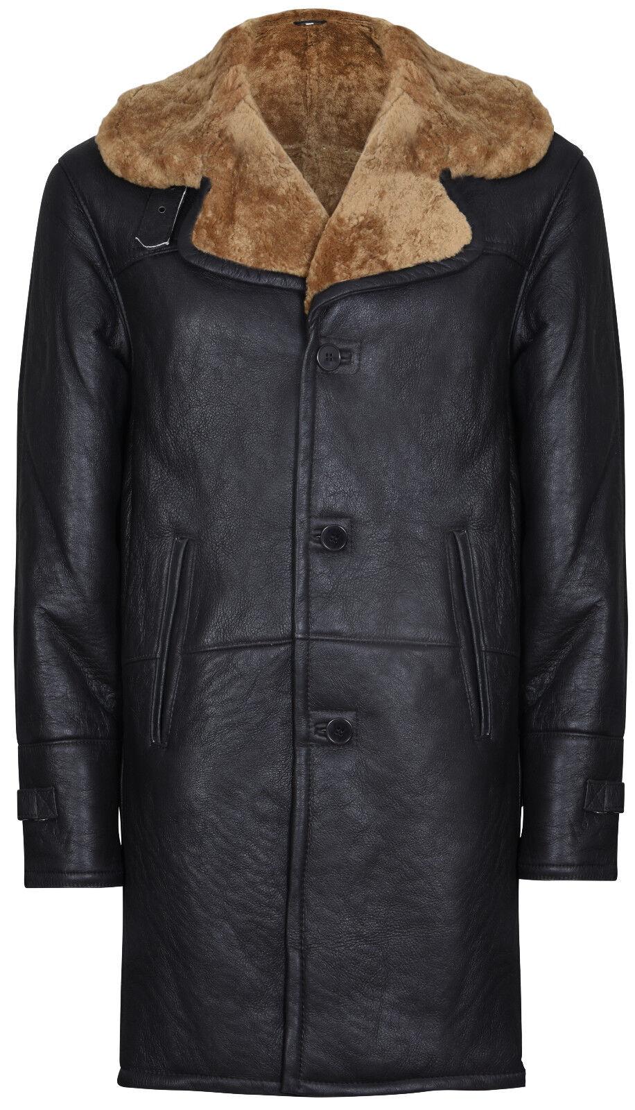 Men's Warm Braun Long Real Shearling Ginger Sheepskin Leder Cromby Pilot Coat