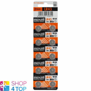 10 MAXELL ALKALINE LR43 186 BATTERIES 1.5V COIN CELL BUTTON G12 EXP 2023 NEW