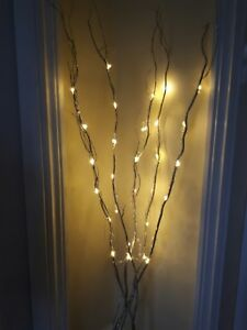 Image Is Loading Christmas Jewelled Glitter White Branch Twig Lights 120cm
