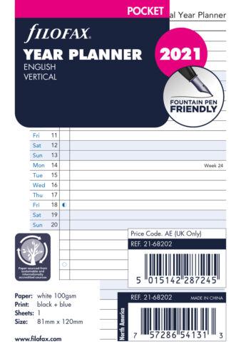 Filofax Taschen Jahresplaner Vertikal 2021 Tagebuch