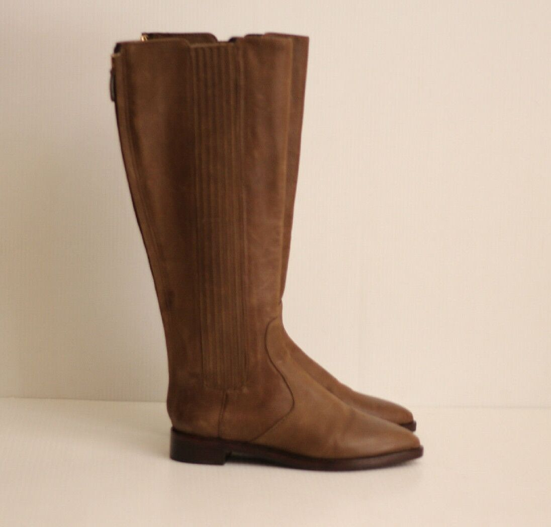 Tory Burch 'Newton' Back Zip Riding Boots - Brown Leather - Size 6.5 M