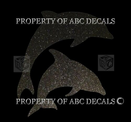 VRS ANIMAL OCEAN DOLPHINS JUMPING Metal Car Decal Wall Sticker