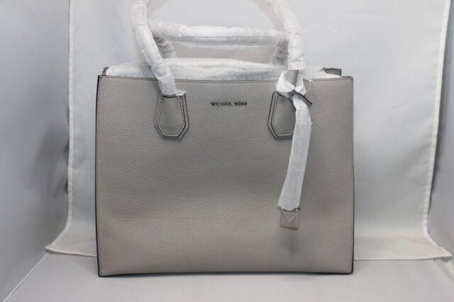 73078171fbf8c Michael Kors Leather Pearl Grey Studio Mercer XL Tote Satchel Purse ...