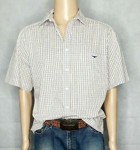 R-M-Williams-Check-Short-Sleeve-Shirt-REGULAR-FIT-Men-039-s-Size-L