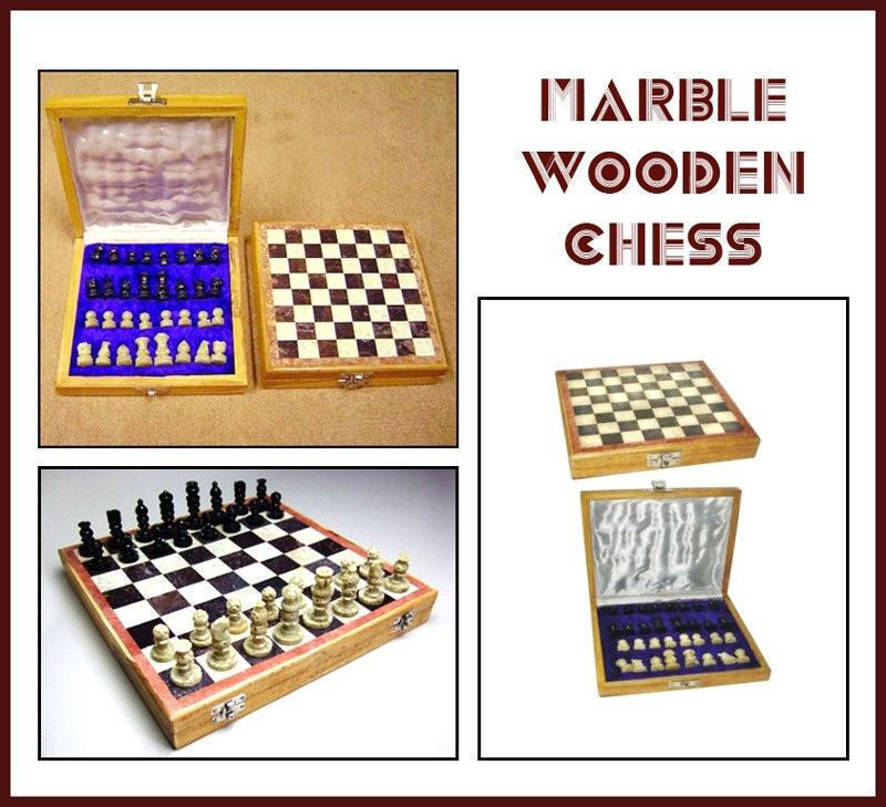 Marble Stone Indian Hand Carved Unique Chess Pieces & Board Set (10' X 10' Inch)