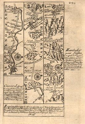 Hard-Working Brecon-llandovery-llanybydder Road Strip Map By J Owen & E Bowen 1753 Sale Overall Discount 50-70%