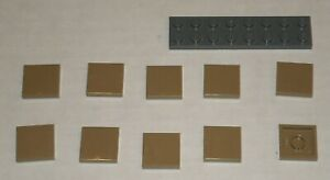 LEGO-NEW-2x2-Dark-Tan-Tile-10x-4507045-Brick-3068