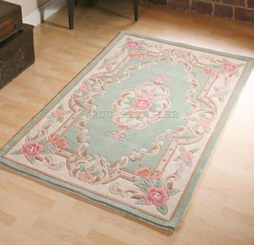LARGE GREEN CHINESE AUBUSSON RUG PREMIUM WOOL HAND TUFTED RUGS 8/'x5/'