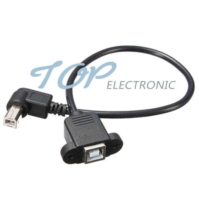 USB2.0 B Female to Male Panel Mount Printer 90°Right Angle Cable Lead 30cm Black