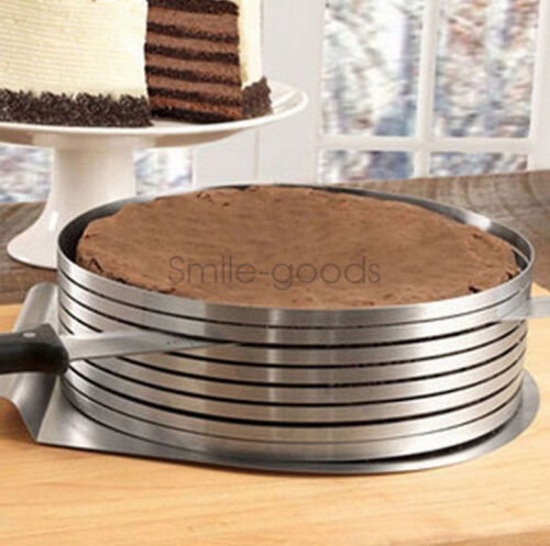 """9-12/"""" Cake Layer Slicer Cutter Stainless Steel Mousse DIY Round Ring Mold Baking"""