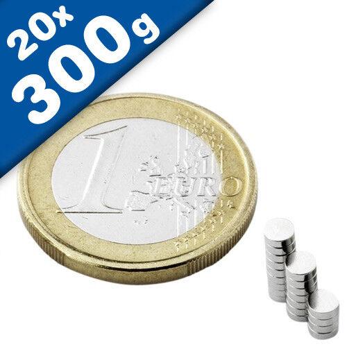Rundmagnet  Ø  3x 1,5mm Nickel 20 x Scheibenmagnet hält 300g Neodym N50
