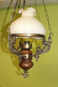 Mobiliar & Interieur Deckenlampe Messingguss Mit Milchglasschirm Schutzglas Petrolium Lampe #2624 Modische Muster