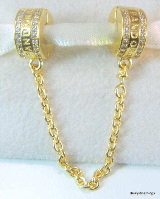 PANDORA Shine 18k Yellow Gold Logo Clip Safety Chain Charm Pendant 767027cz