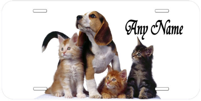 Cat And Dog Aluminum Any Name Personalized Novelty Car License Plate