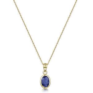 9ct-Oro-Amarillo-Zafiro-Azul-Rubover-SET-COLGANTE-OVAL-amp-18-039-039-CADENA